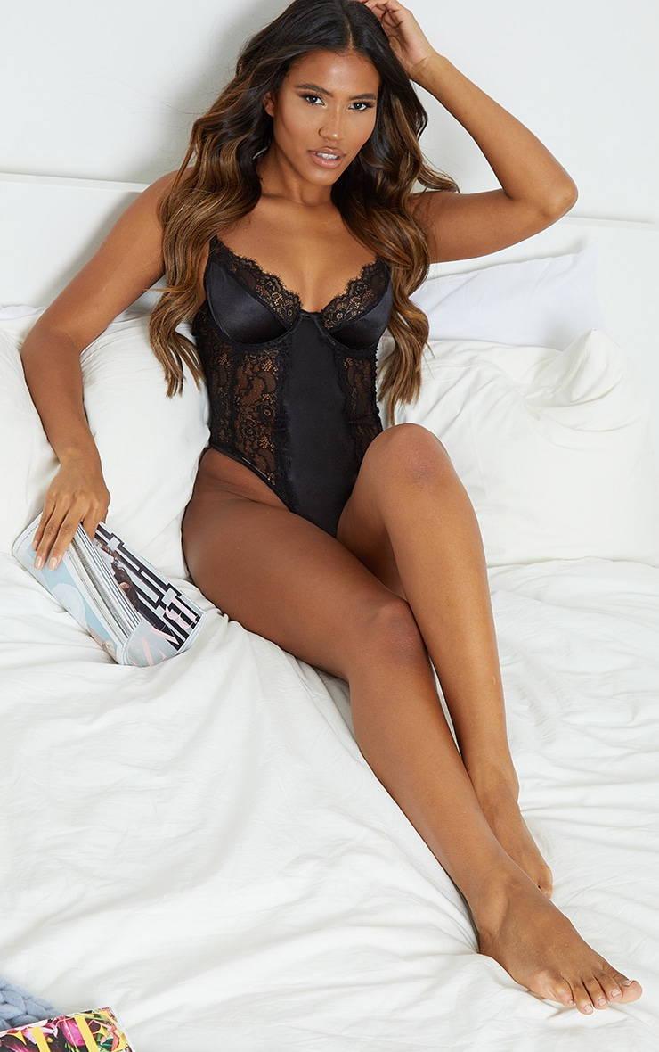 Black Lace Panel Satin Underwired Body 3