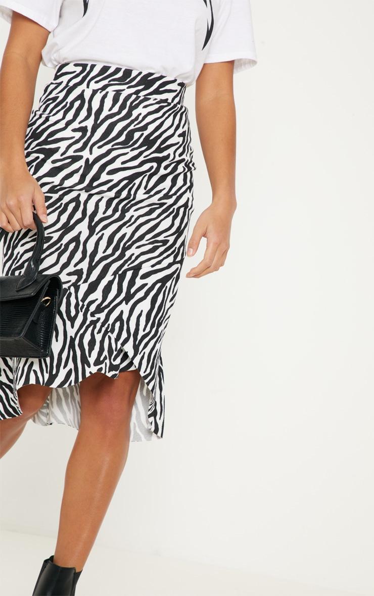 Petite White Zebra Print Ruffle Midi Skirt 5