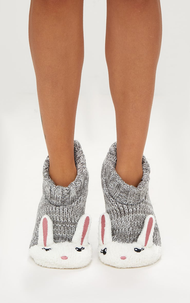 Grey Bunny Slipper Socks 2