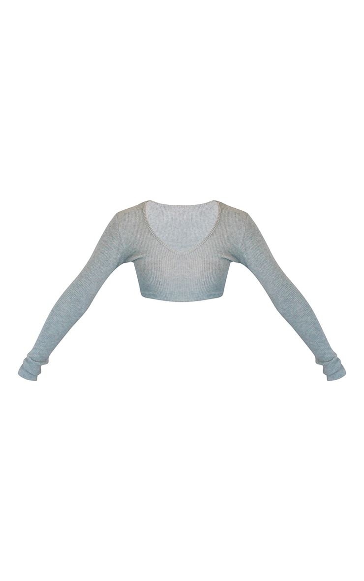 Grey Marl Brushed Rib V Neck Long Sleeved Crop Top 5