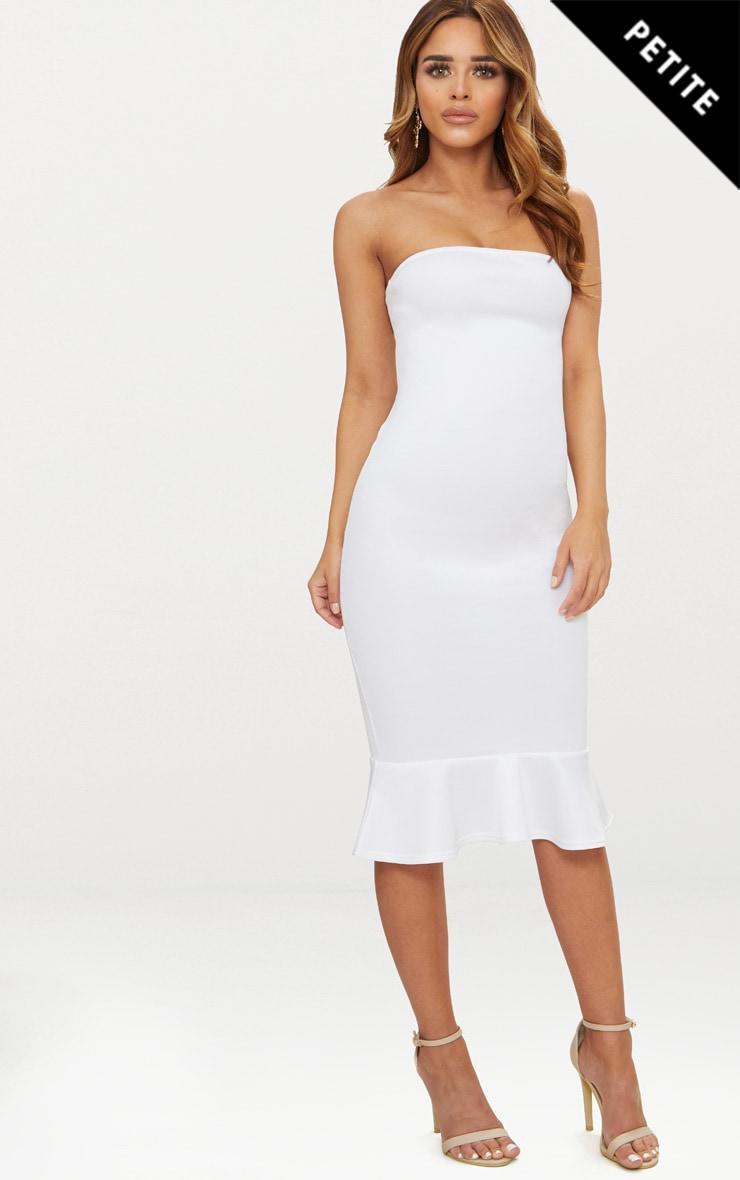 Petite White Bandeau Frill Hem Midaxi Dress 1