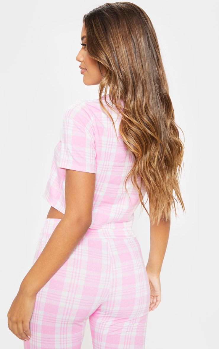 Pink Check Short Sleeve Lounge Top 2