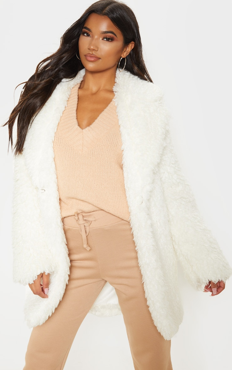 White Teddy Faux Fur Coat image 1