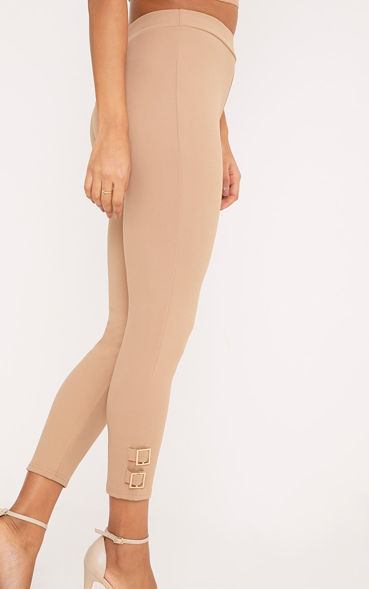 Orlane Taupe Buckle Fitted Trousers 5