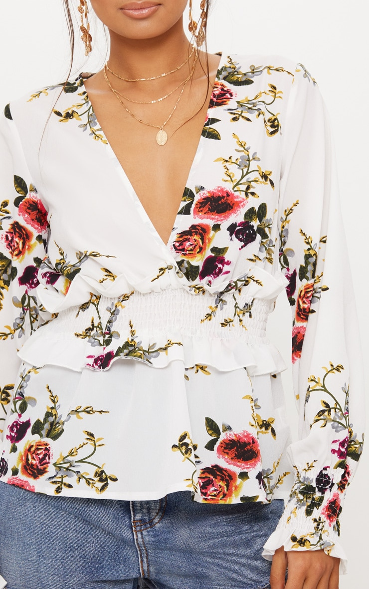 White Floral Plunge Shirred Waist Blouse  5
