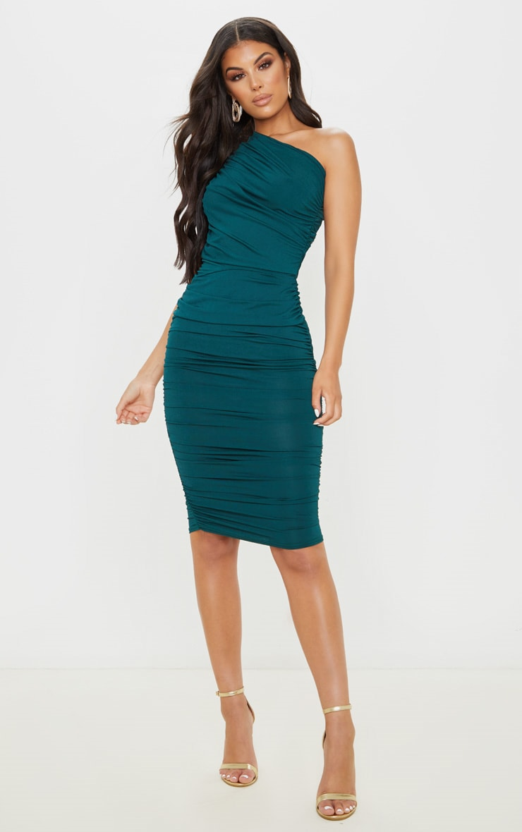 EMERALD GREEN SLINKY RUCHED ONE SHOULDER LONGLINE MIDI DRESS