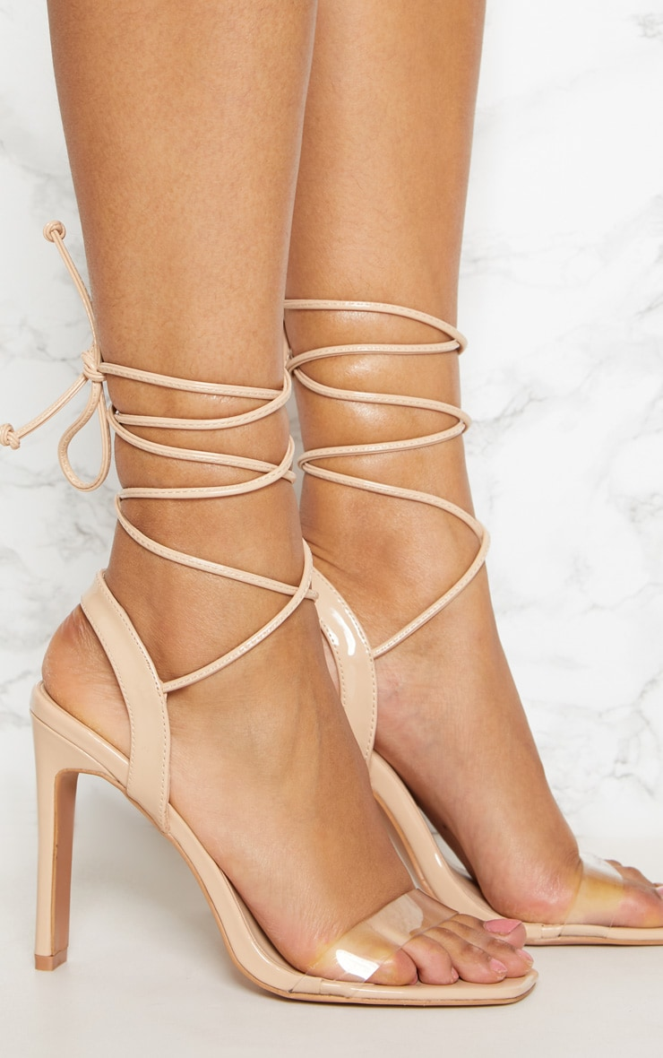 Nude Patent Perspex Square Toe Ghillie Sandal 5
