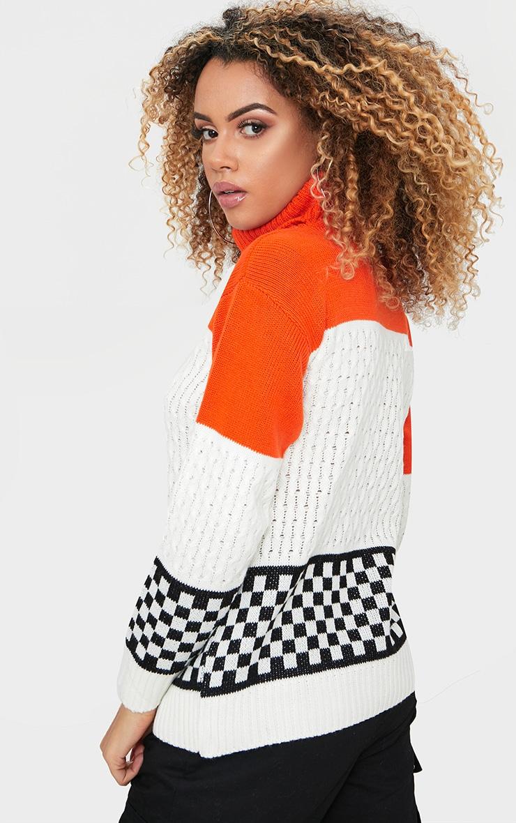Orange Checkboard Colourblock Jumper 2