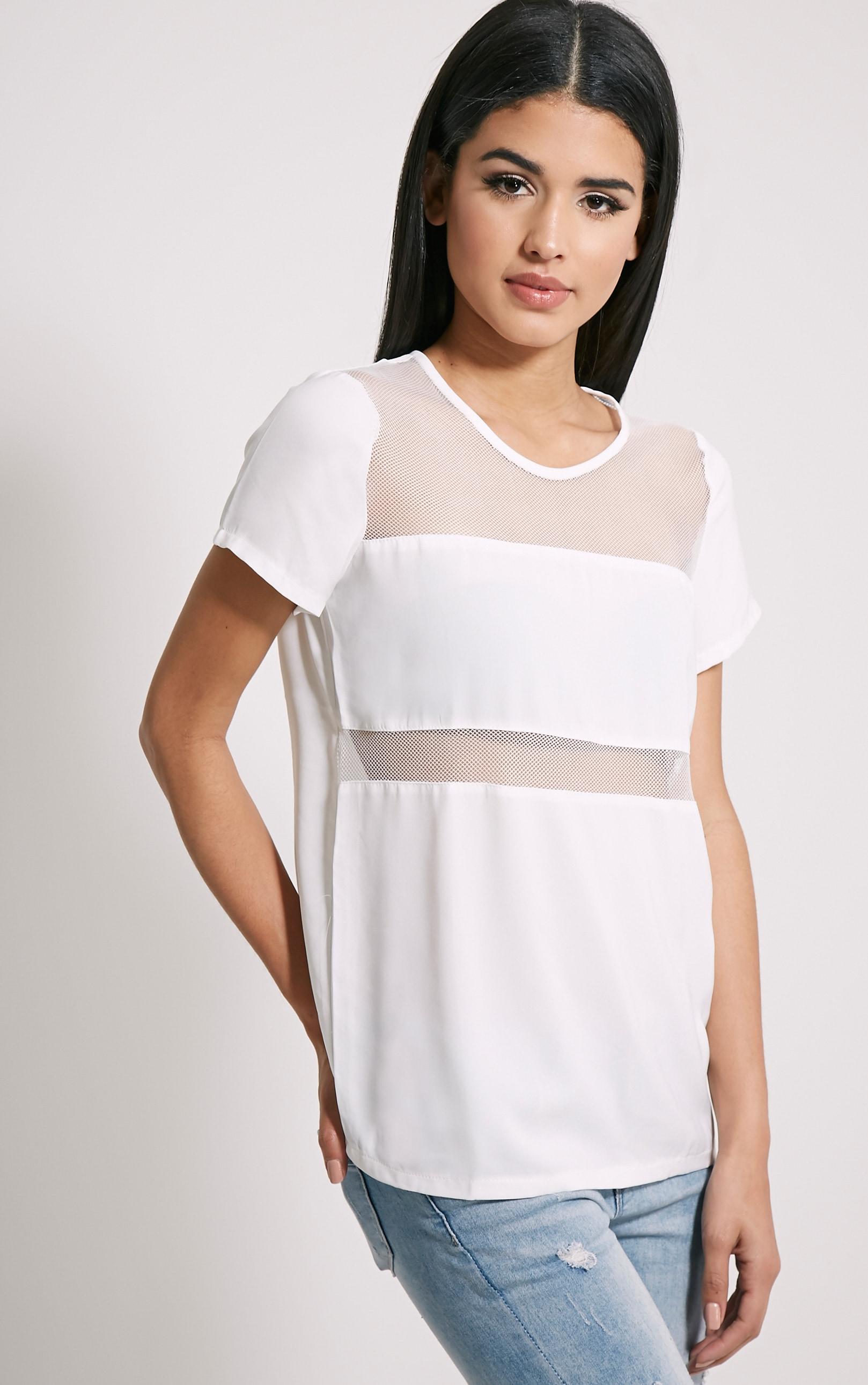 Bexley White Fishnet Panel T-Shirt 1