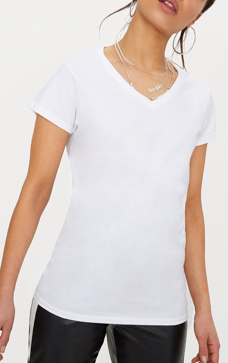 Basic White Fitted V Neck Jersey T Shirt 5