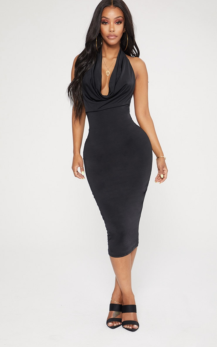 Shape Black Slinky Cowl Neck Midi Dress 1