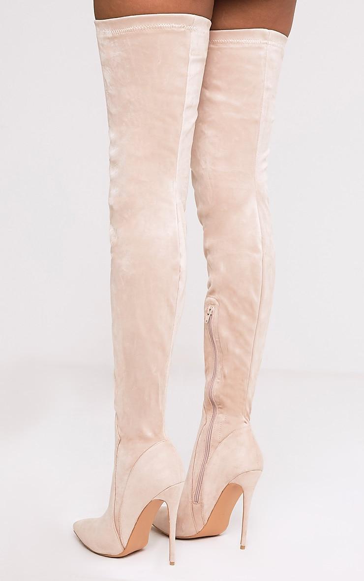 Emmi bottes cuissardes gris pierre imitation daim à talons extrêmes 4