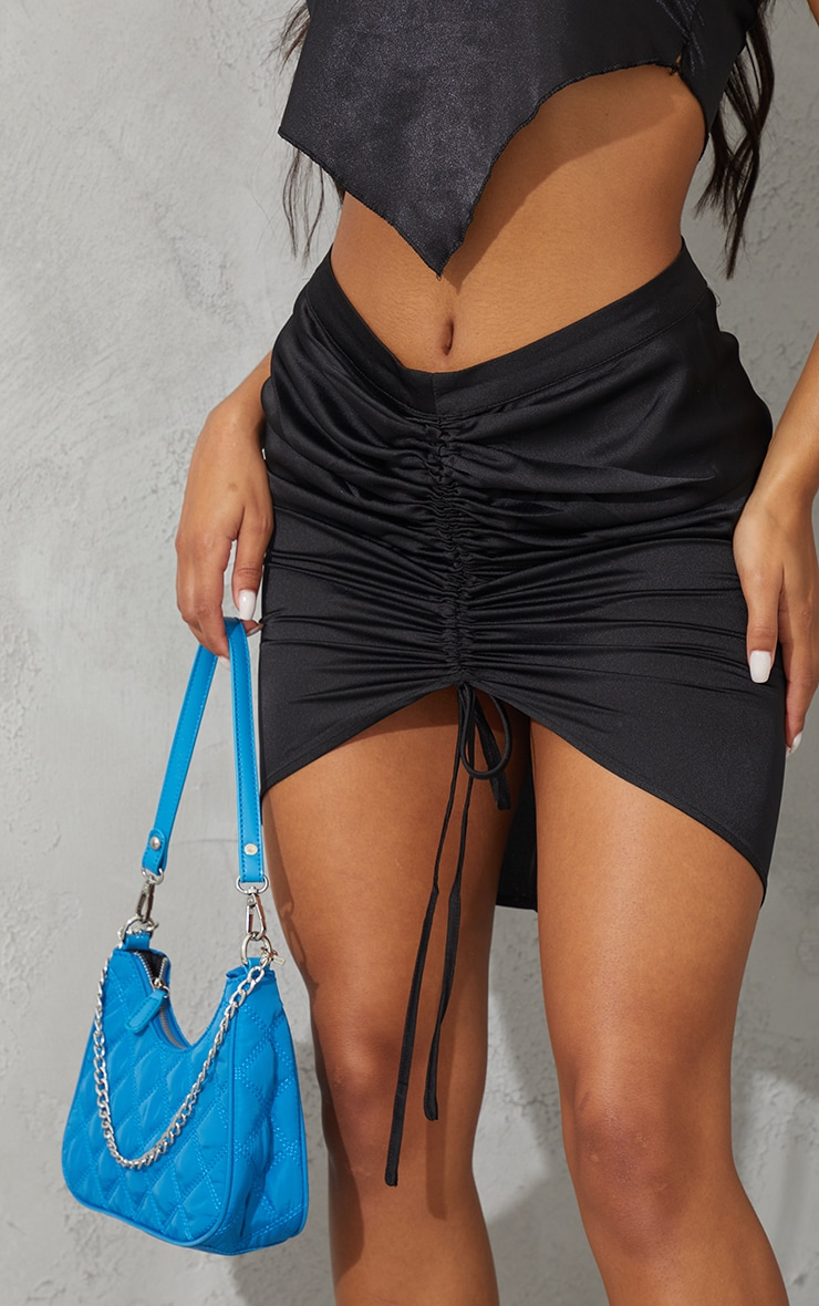 Black Front Ruched Mini Skirt 5