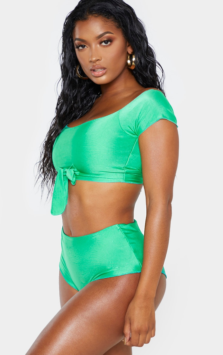 Shape - Bas de bikini vert vif super taille haute 2