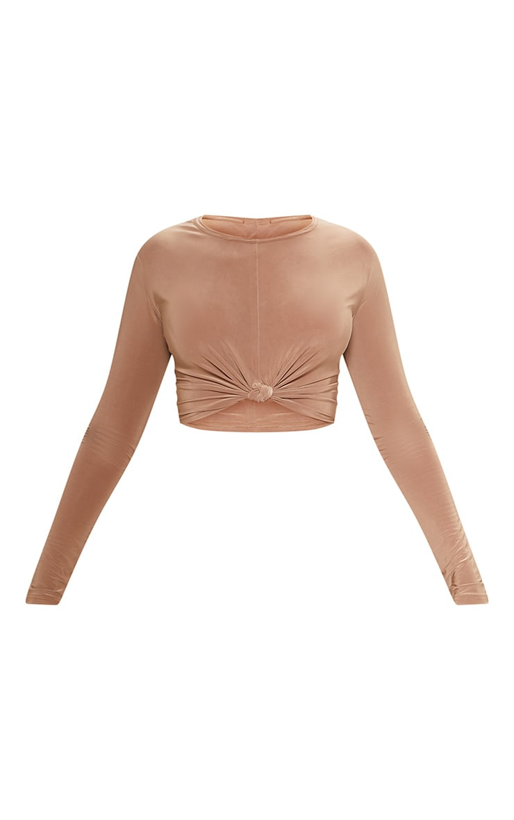 Camel Slinky Knot Front Crop Top 3