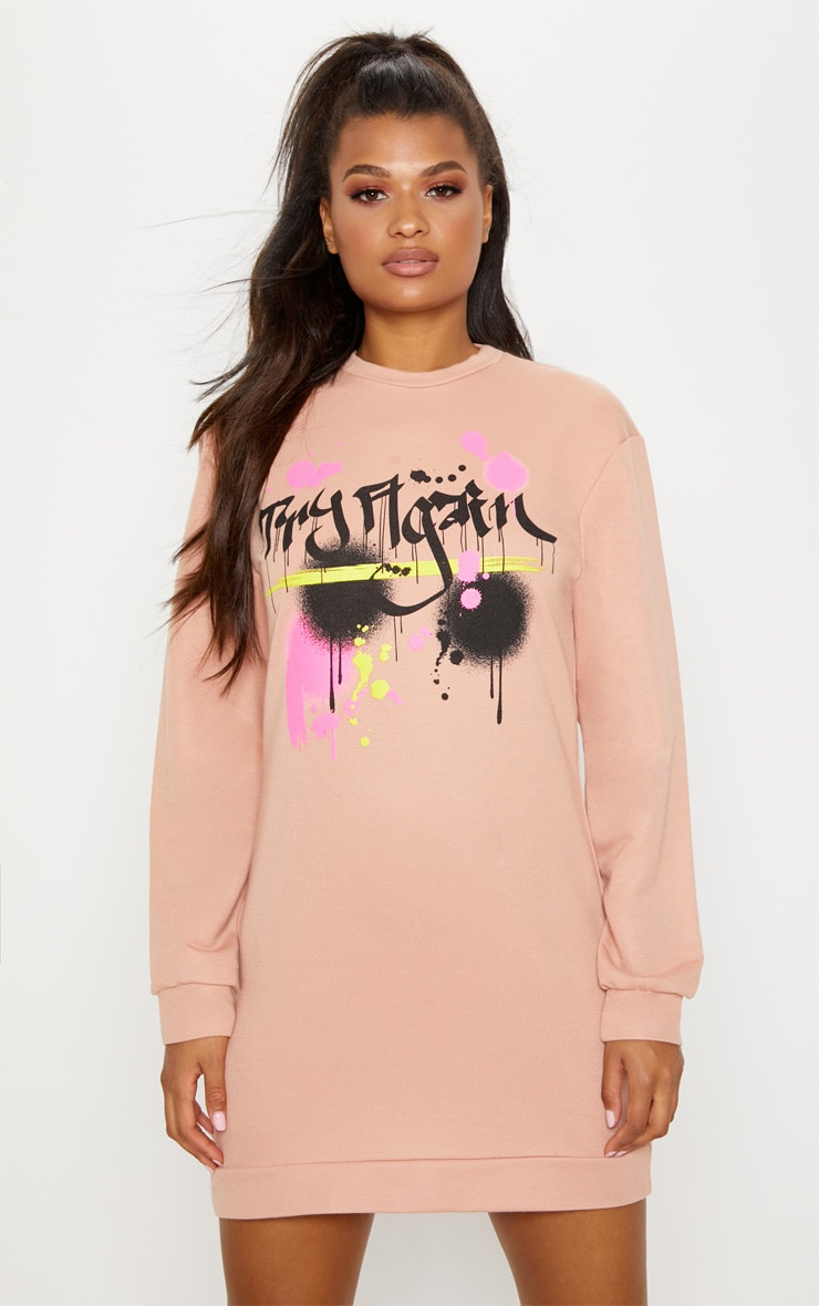 Peach Graffiti Slogan Oversized Jumper Dress