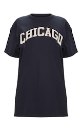 Black Chicago Slogan Oversized T Shirt 3