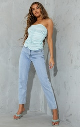 Baby Blue Satin Ruched Bandeau Long Top 3