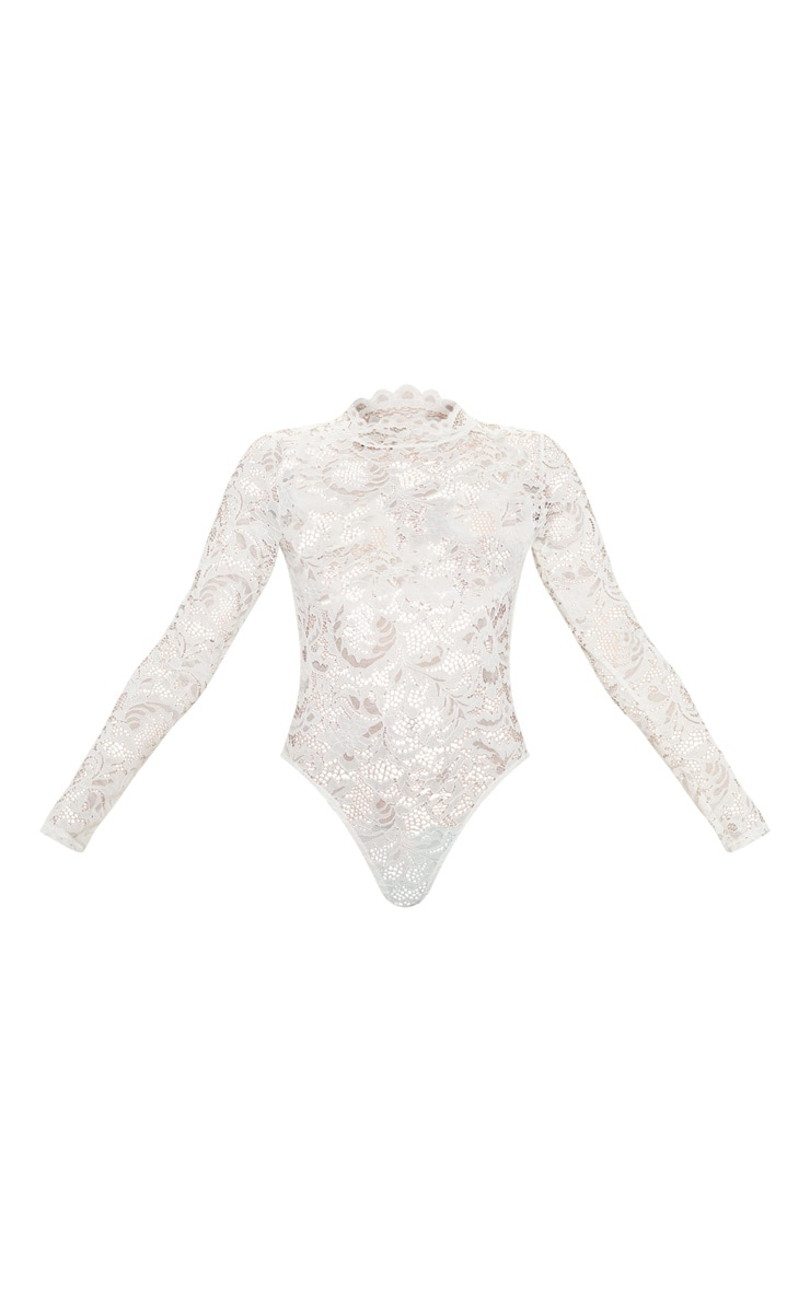 White Sheer Lace Scallop Detail Bodysuit 3