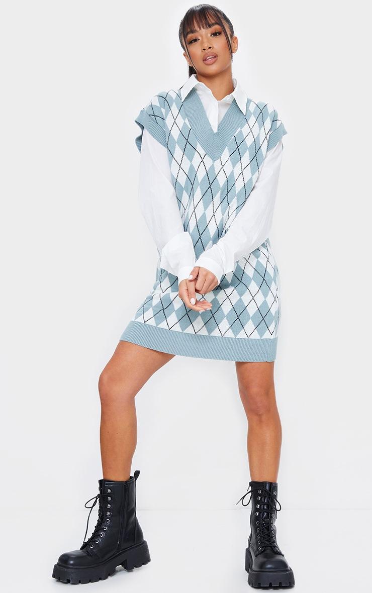 Petite Sage Diamond Knit Sleeveless Dress 3