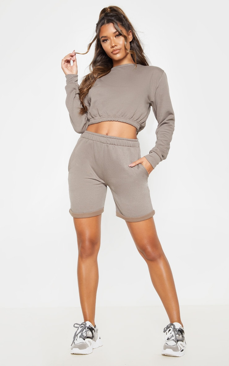 Grey Turn Up Longline Sweat Short 1