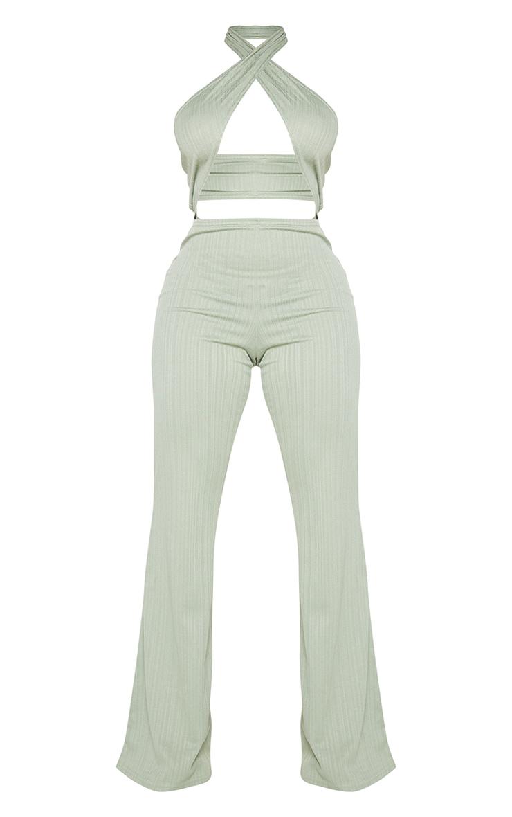 Shape Sage Khaki Textured Rib Wrap Neck Wide Leg Jumpsuit 5