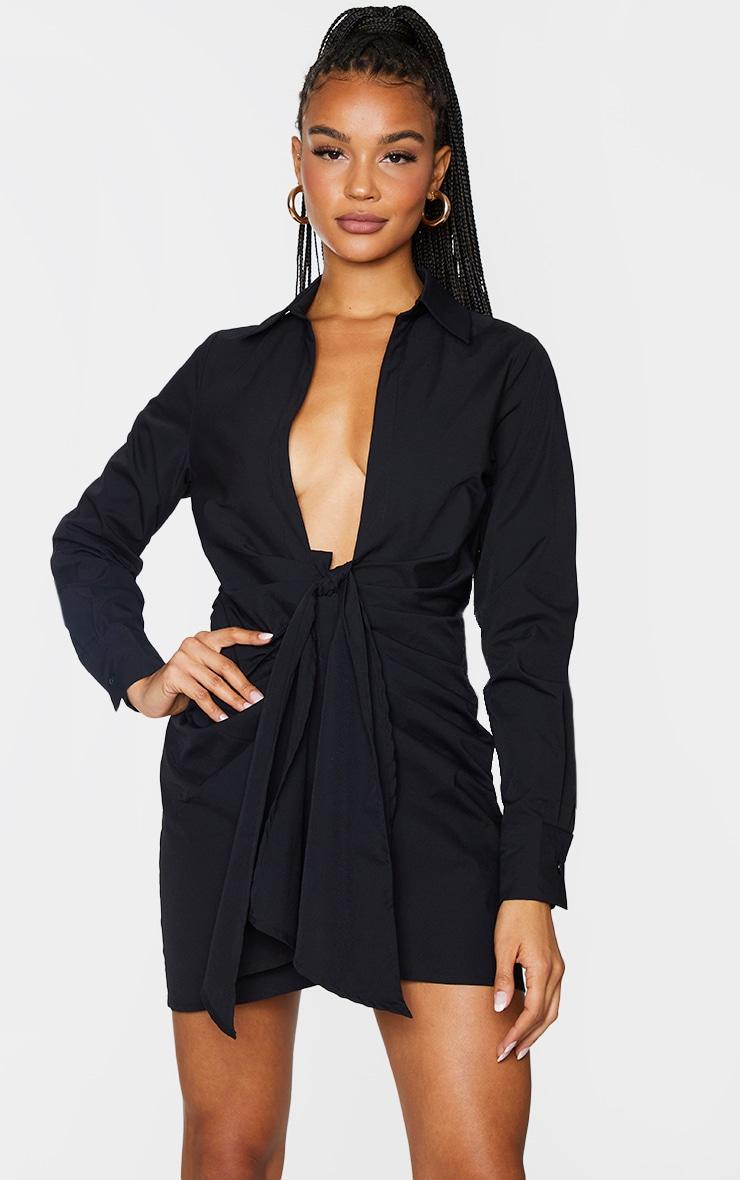 Black Plunge Drape Detail Ruched Shirt Dress 1