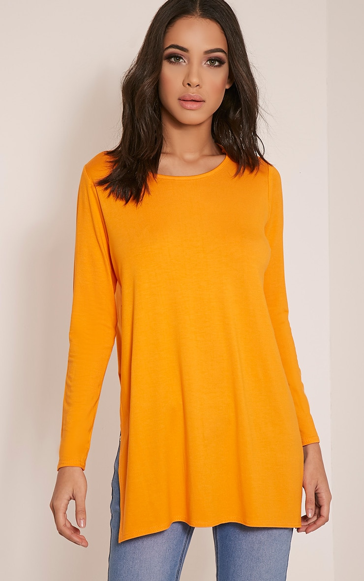 Basic Bright Orange Long Sleeve Side Split Top 4