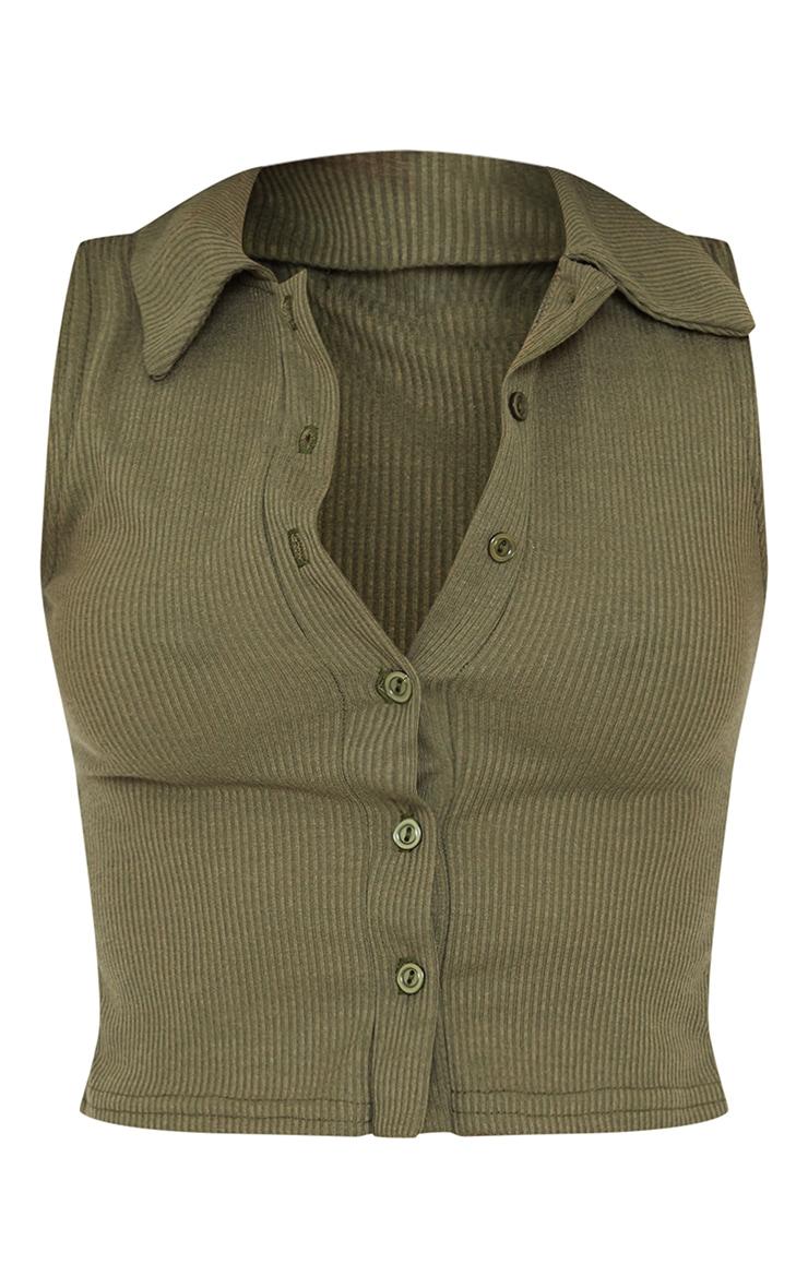 Khaki Ribbed Collar Detail Sleeveless Button Front Top 5