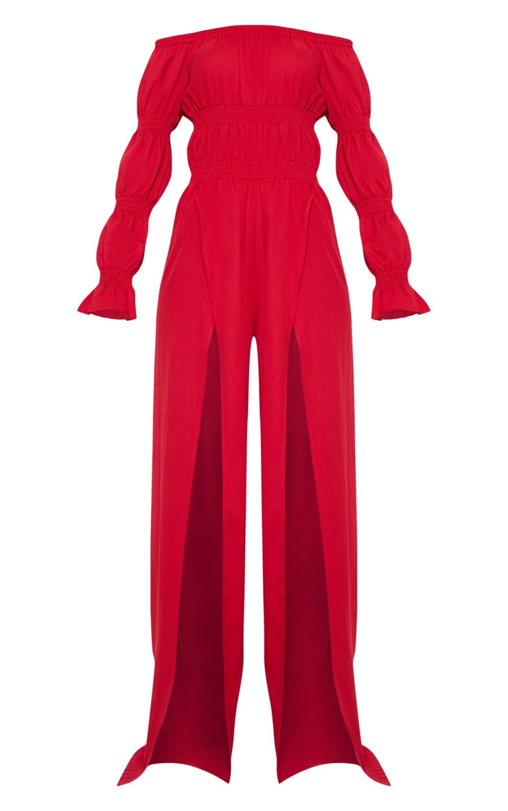 Red Multi Gathered Off Shoulder Split Leg Jumpsuit 3