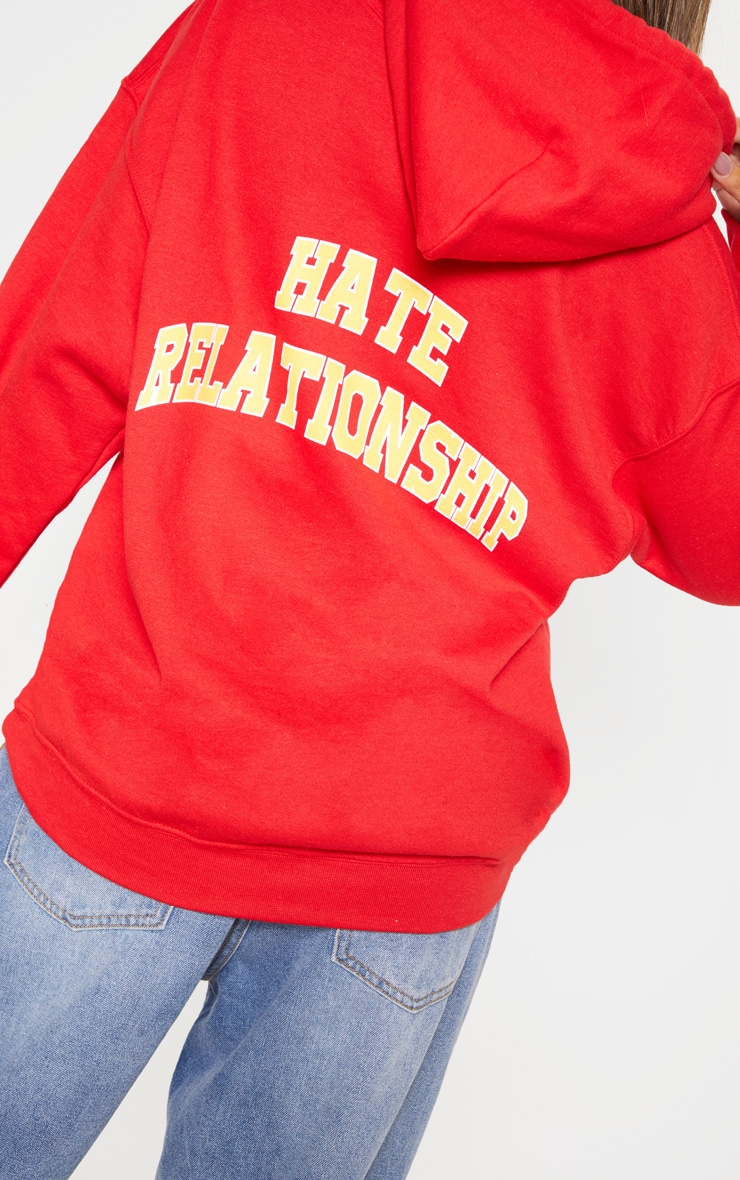 Red Love Hate Slogan Oversized Hoodie 6