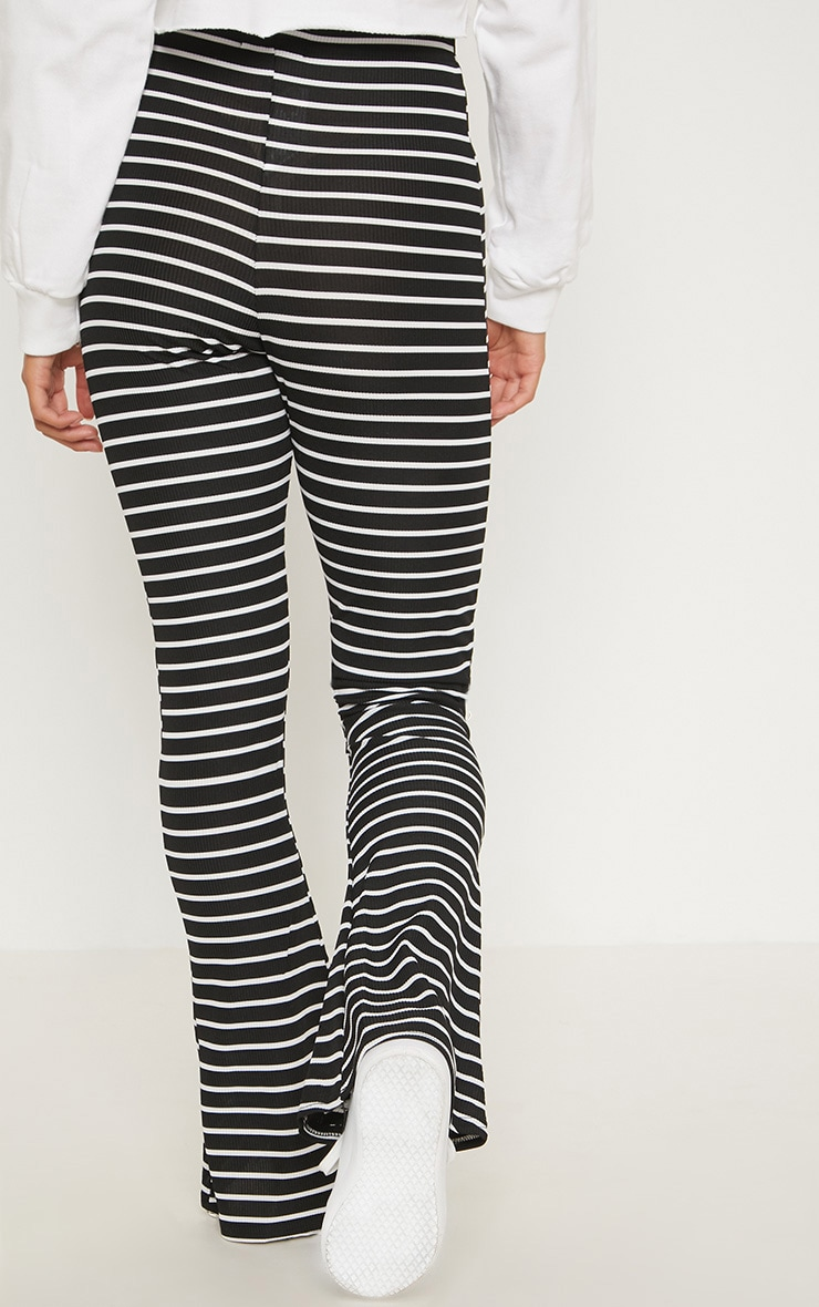 Petite Black Striped Flared Pants 4