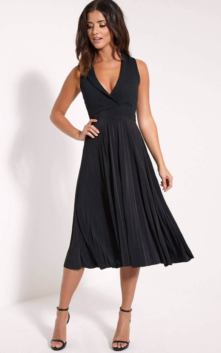 Flore Black Deep Plunge Pleated Midi Dress 1