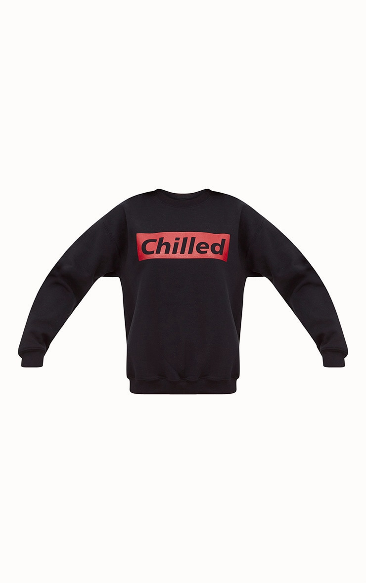 Black Chilled Slogan Sweater 3