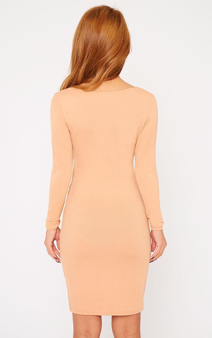 Hayley Camel Crepe Cross Over Dress 2