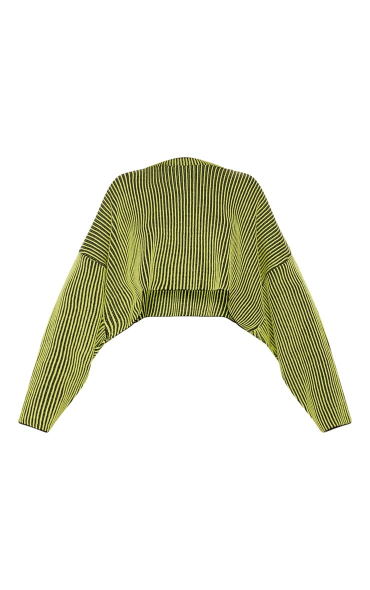Lime Two Tone Knit Batwing Cropped Jumper 3