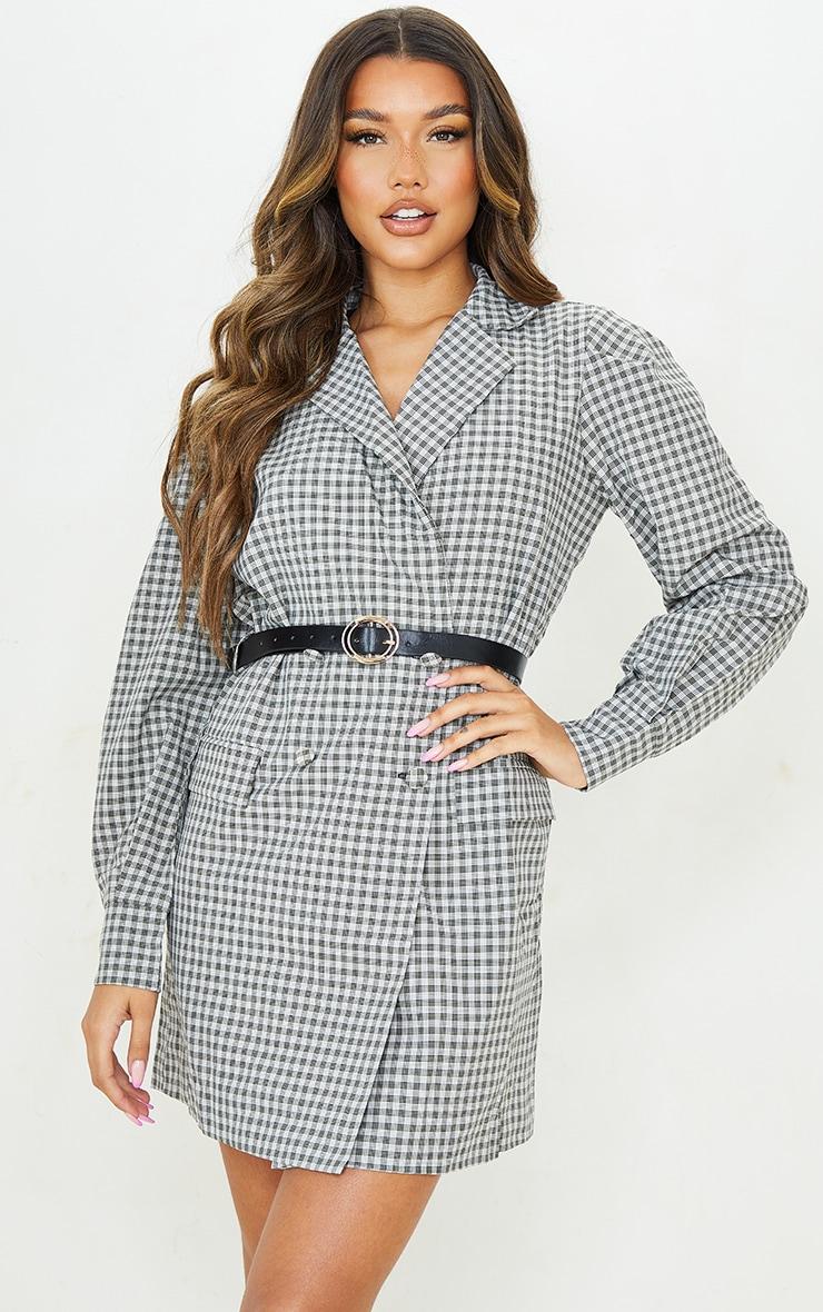 Beige Check Print Belted Blazer Dress 4