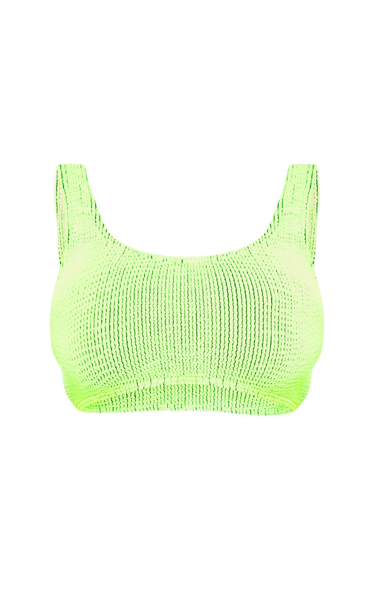 Lime Contrast Crinkle Fuller Bust Deep Scoop Bikini Top 3