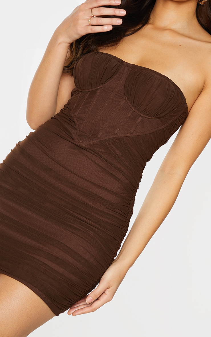 Chocolate Chiffon Corset Detail Ruched Bandeau Bodycon Dress 4