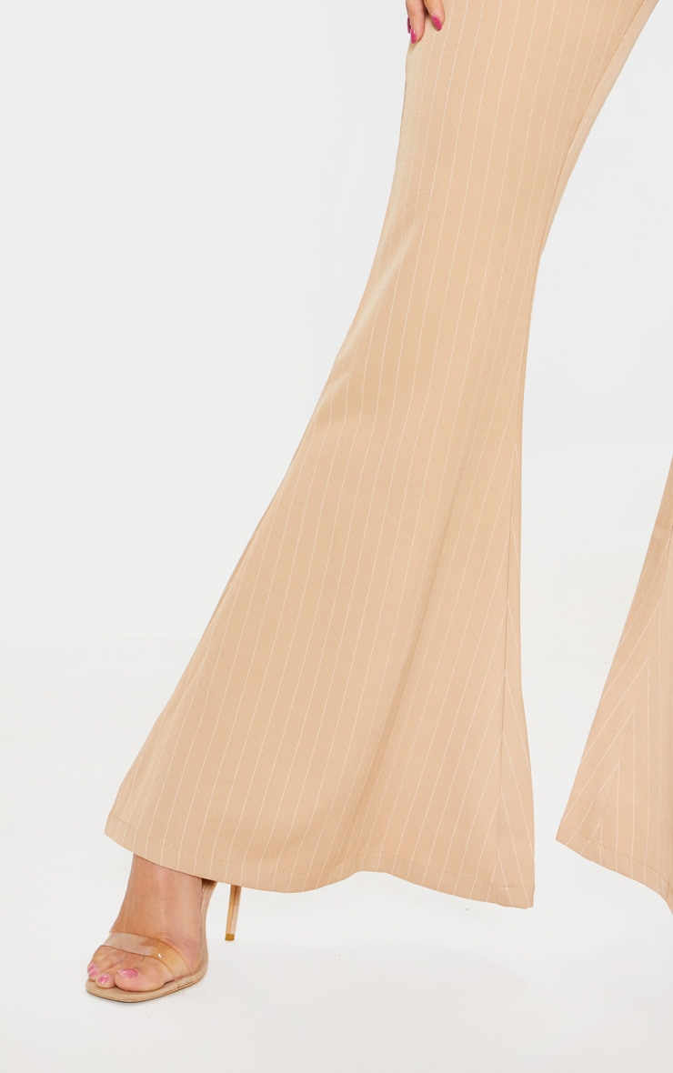 Stone Pinstripe Flare Leg Trouser 5
