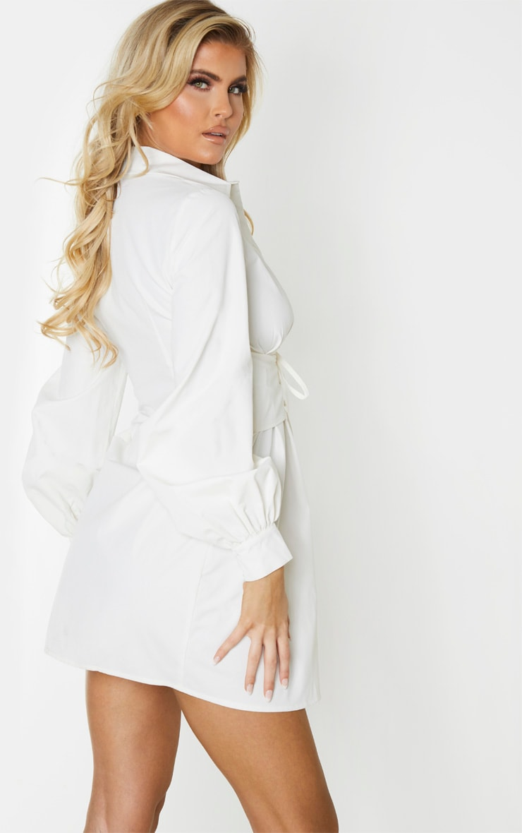 Tall Cream Corset Detail Shirt Dress 2