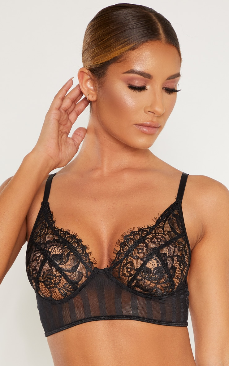 Black Striped Lace Bralette 5