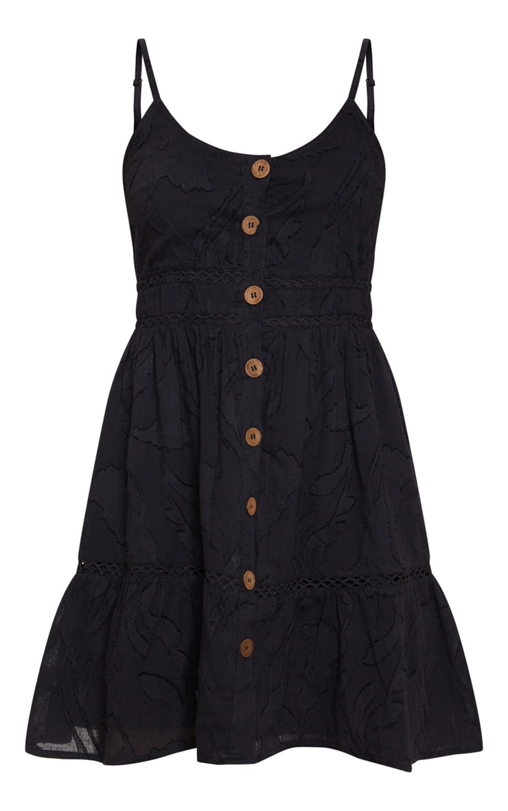 Black Wooden Button Front Cami Dress 3