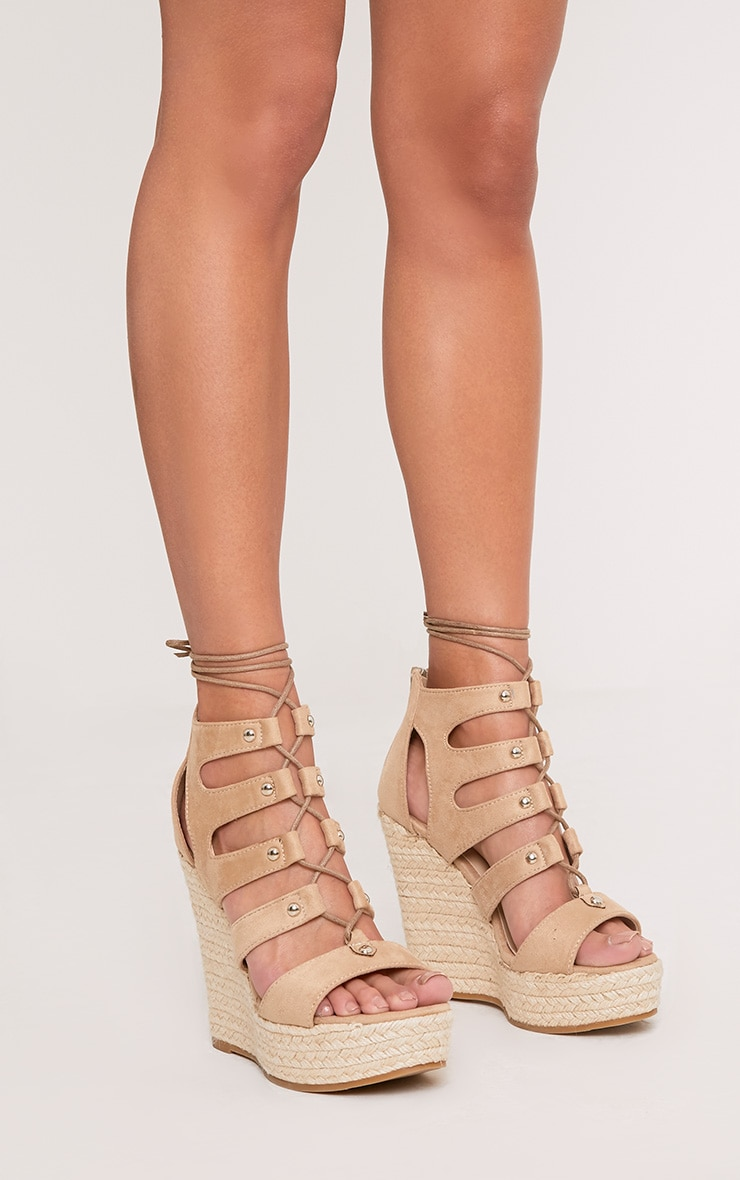 PRETTYLITTLETHING Louisella Lace Up Wedges hQRJ8Ad