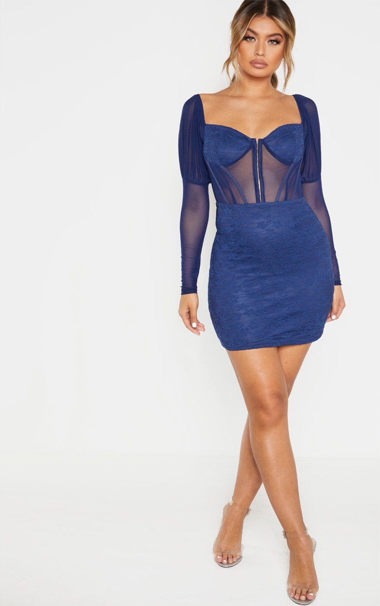 Navy Lace Mesh Insert Hook And Eye Detail Bodycon Dress 4