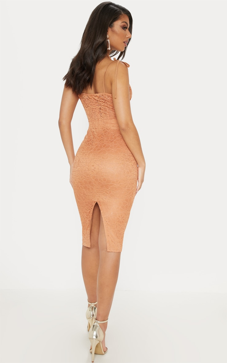 Tan Lace Ruched Top Midi Dress 2