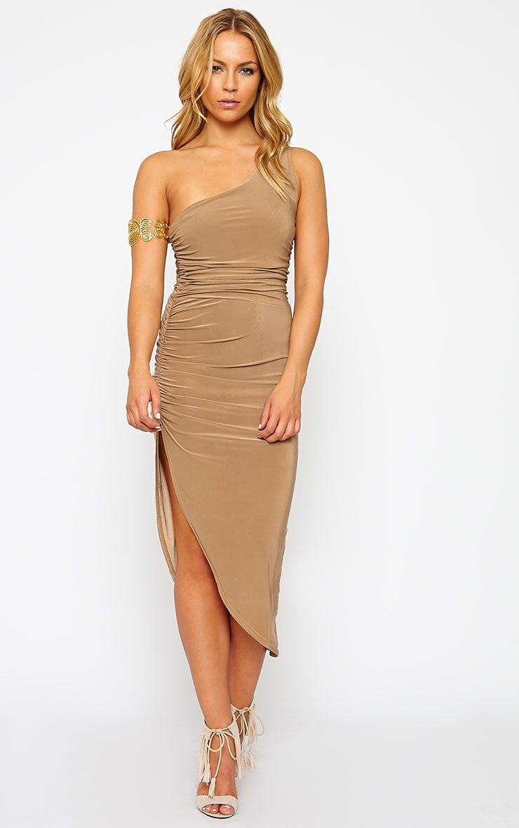 Lourdes Camel One Shoulder Side Ruched Dress 3