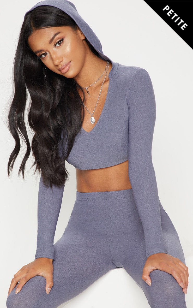Petite Grey Hooded Crop Top 1