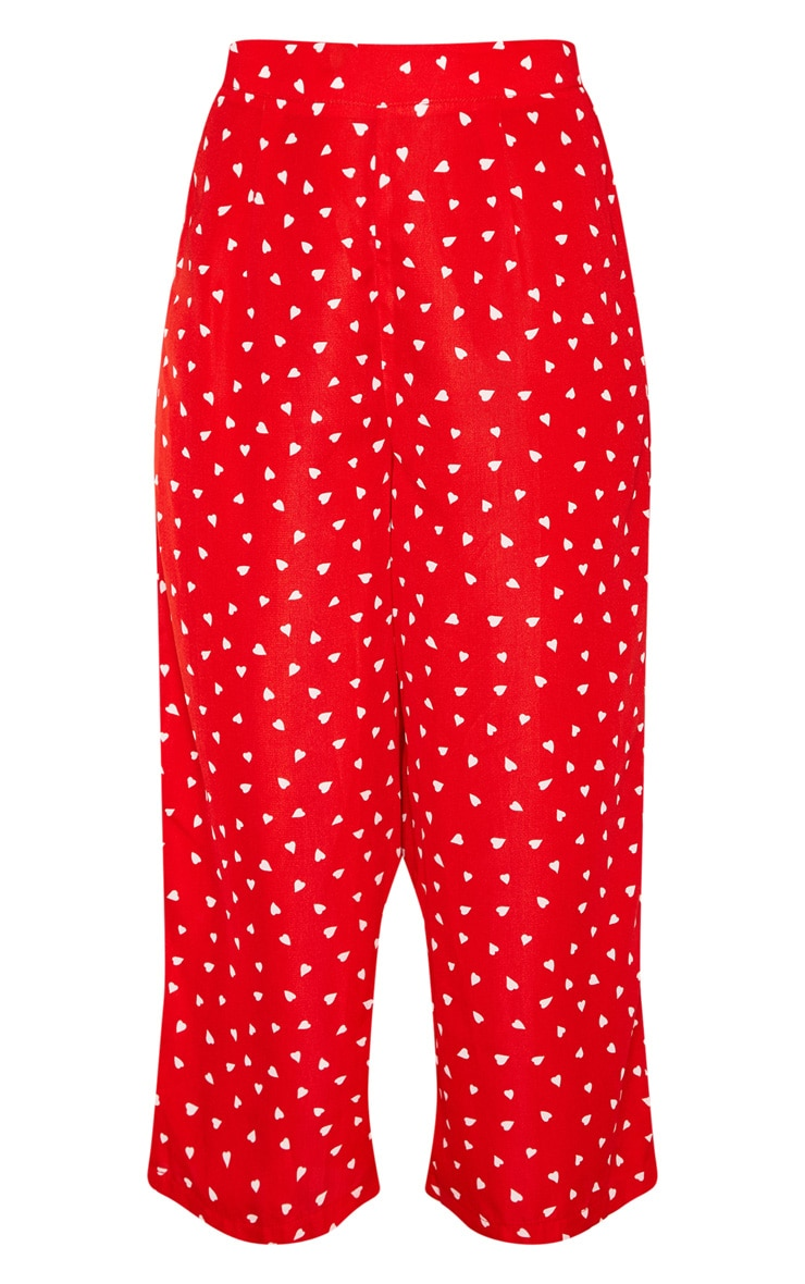 Red Woven Love Heart Print Culottes 3