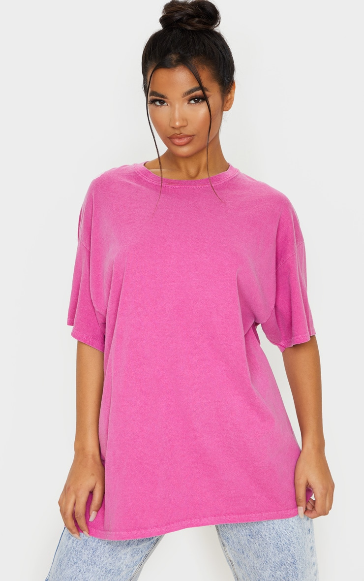 Pink Washed Oversized T Shirt 1